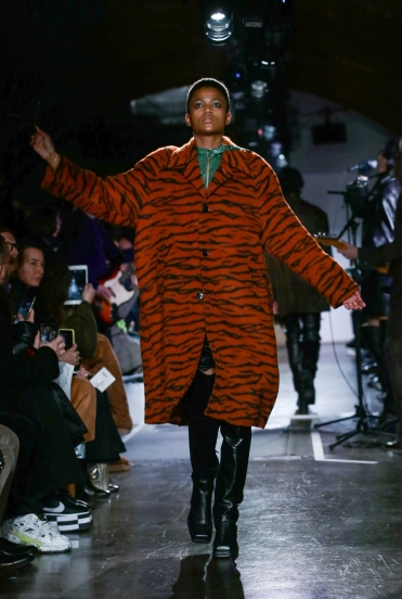 A model walks the runway at the John Lawrence Sullivan show during London Fashion Week Men's January 2019 at Kachette on January 5, 2019 in London, England.